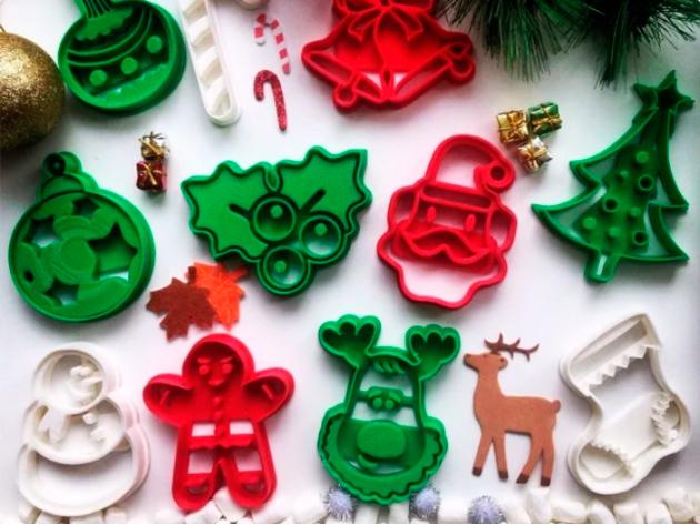 Cortadores de biscoito impressao 3d no natal