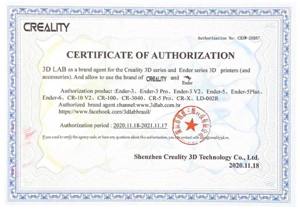 Certificado Creality